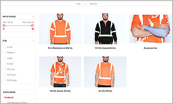 Defense Construction Sportswear, NopCommerce ecommerce platform, responsive theme.